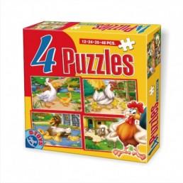 4 puzzle maxi cu animale