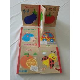 Puzzle din lemn cu 6 imagini - carte