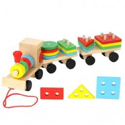 Tren din lemn cu forme geometrice